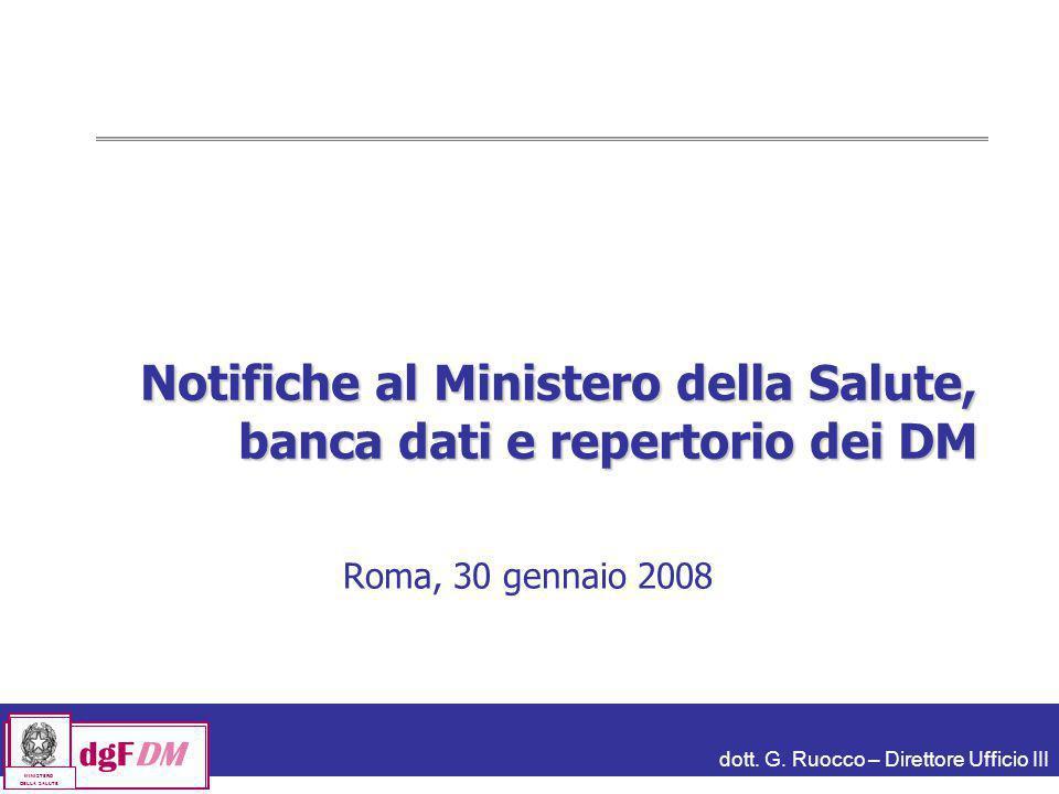Notifiche al Ministero della Salute, banca dati e repertorio dei DM