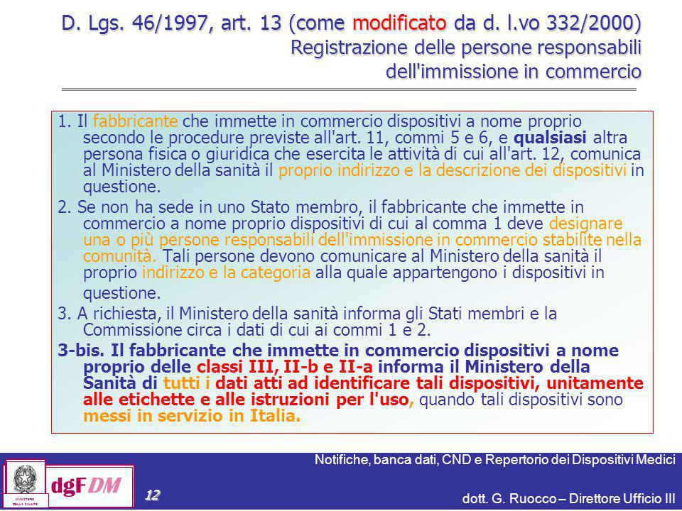 D. Lgs. 46/1997, art. 13 (come modificato da d. l
