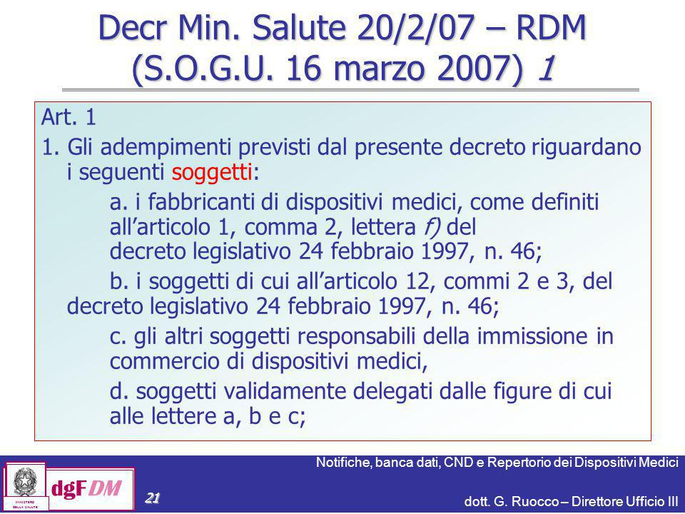 Decr Min. Salute 20/2/07 – RDM (S.O.G.U. 16 marzo 2007) 1