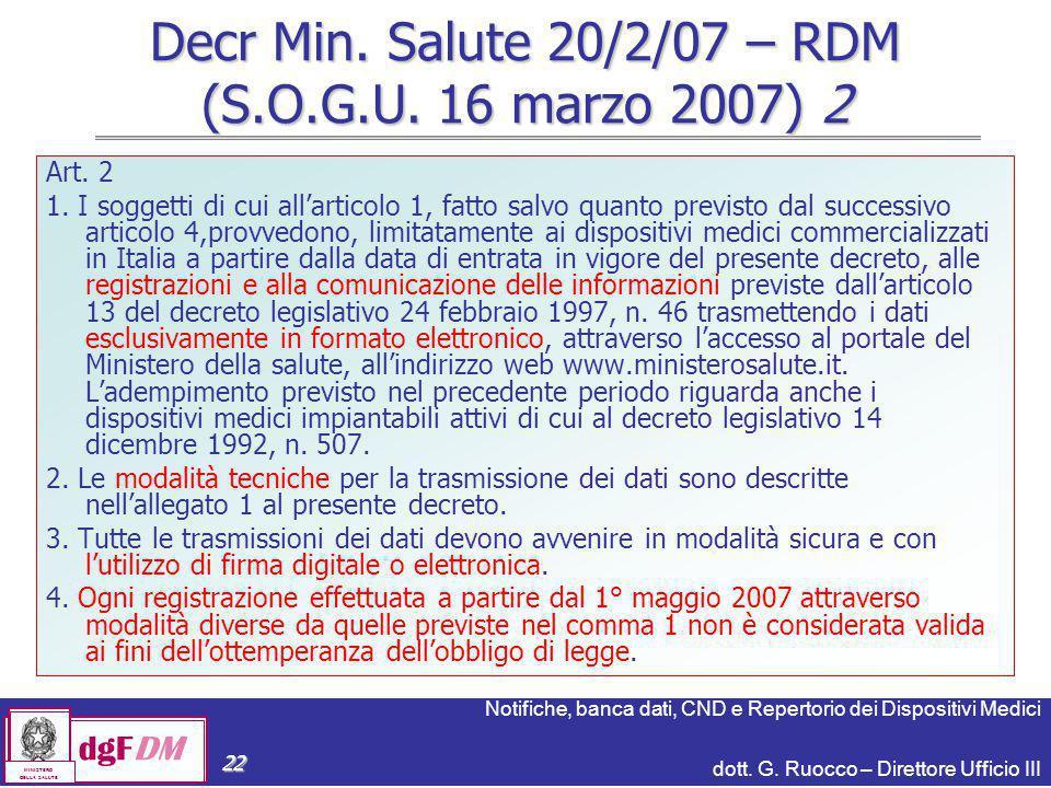 Decr Min. Salute 20/2/07 – RDM (S.O.G.U. 16 marzo 2007) 2