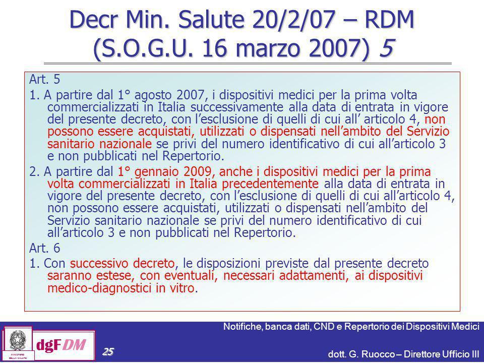 Decr Min. Salute 20/2/07 – RDM (S.O.G.U. 16 marzo 2007) 5