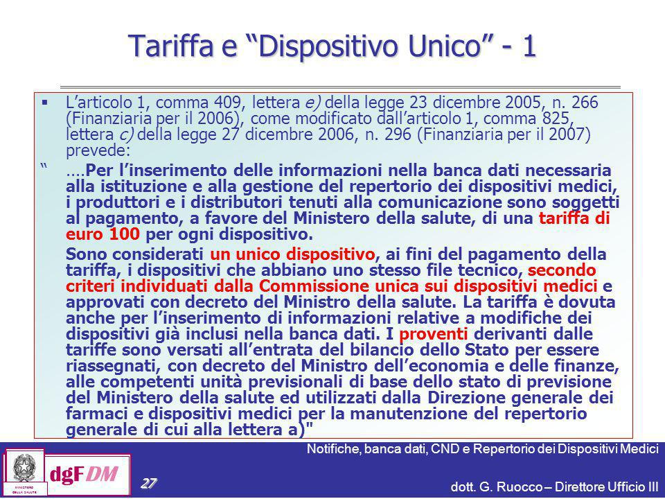 Tariffa e Dispositivo Unico - 1