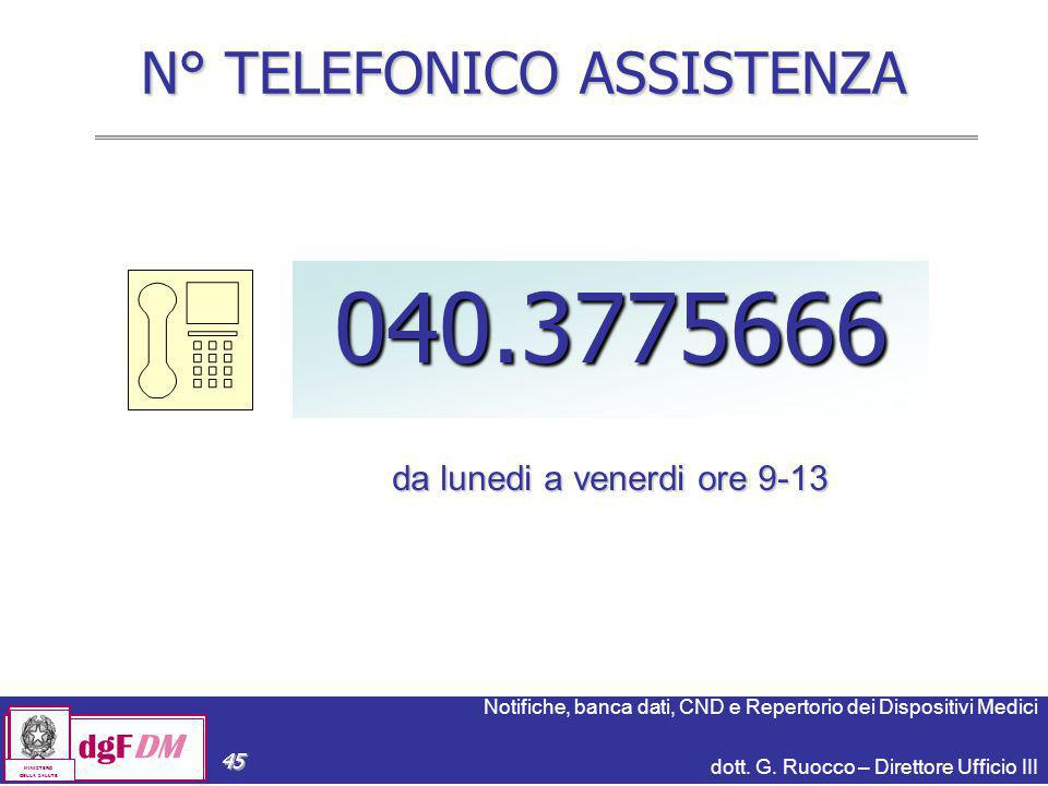 N° TELEFONICO ASSISTENZA