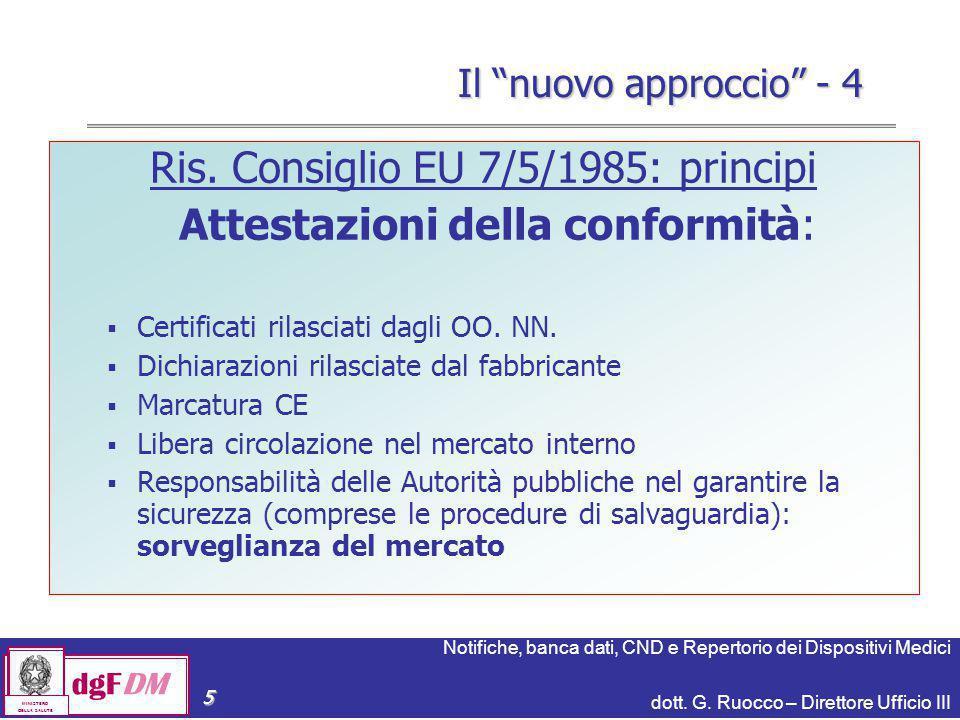 Ris. Consiglio EU 7/5/1985: principi Attestazioni della conformità: