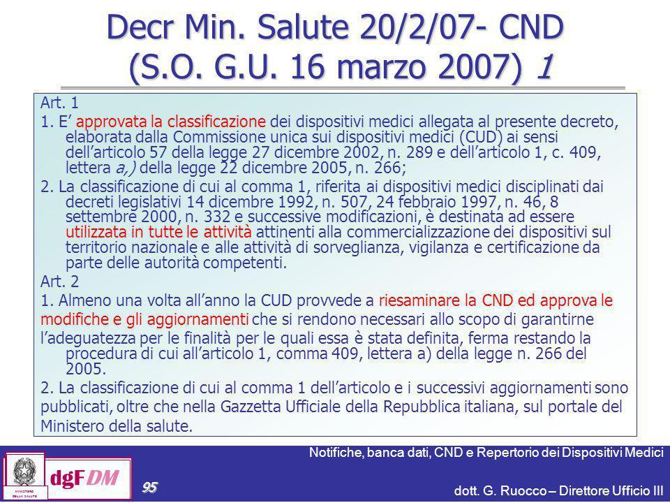 Decr Min. Salute 20/2/07- CND (S.O. G.U. 16 marzo 2007) 1