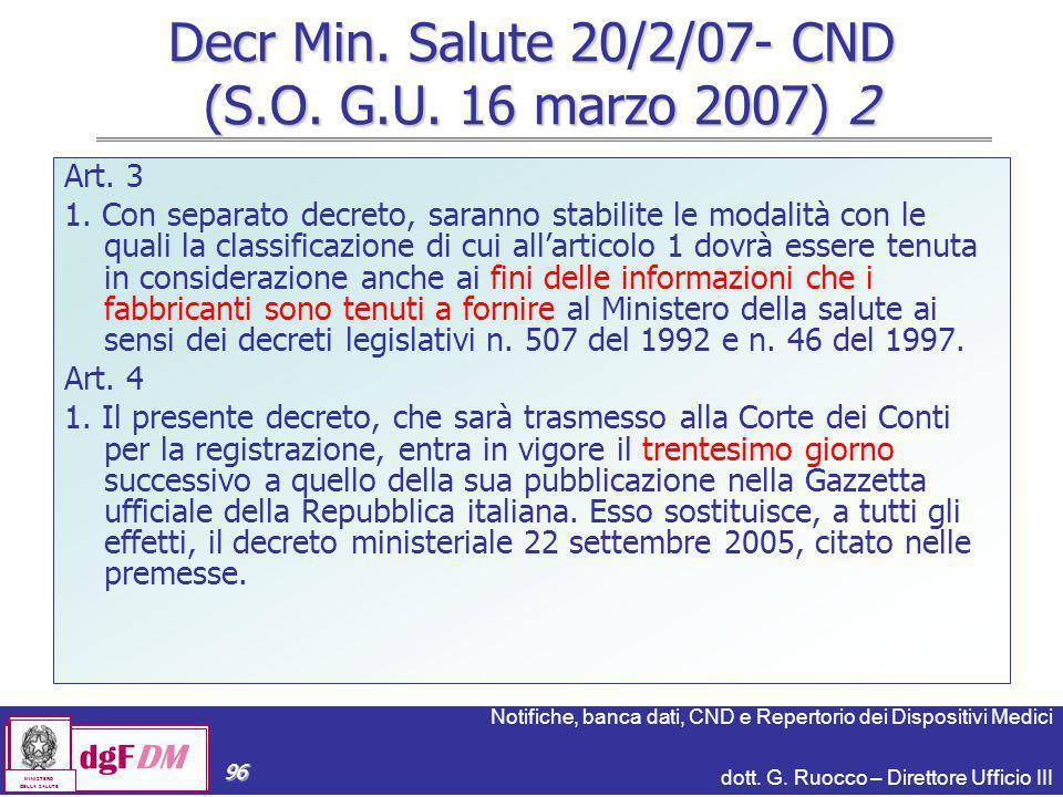 Decr Min. Salute 20/2/07- CND (S.O. G.U. 16 marzo 2007) 2
