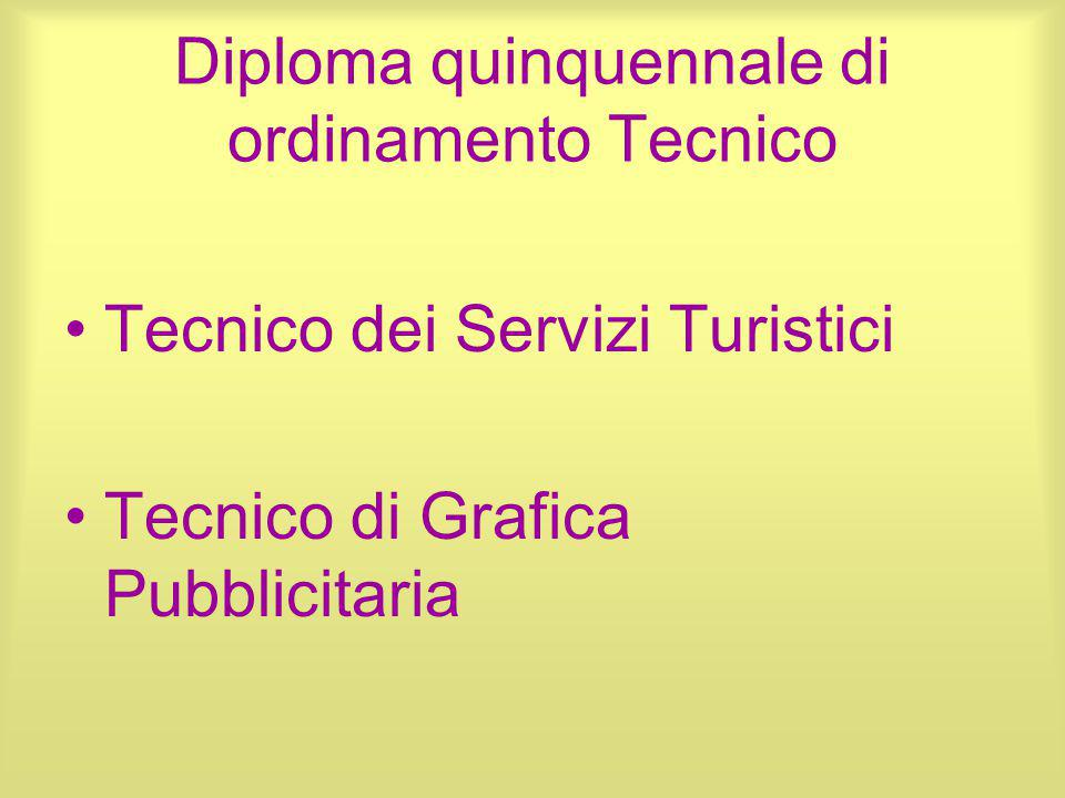 Diploma quinquennale di ordinamento Tecnico