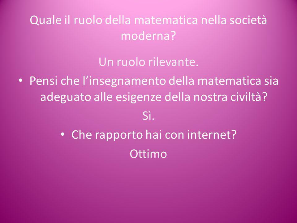 Quale il ruolo della matematica nella società moderna