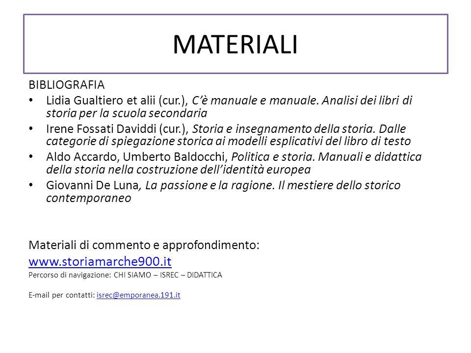 MATERIALI www.storiamarche900.it BIBLIOGRAFIA
