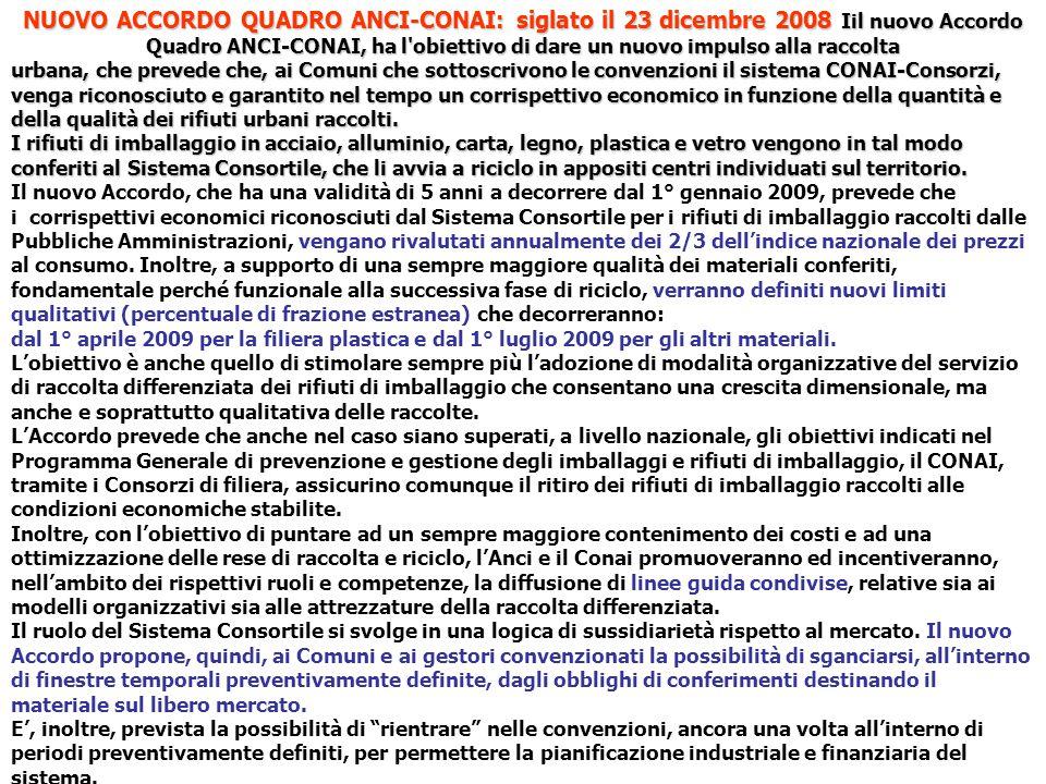 NUOVO ACCORDO QUADRO ANCI-CONAI: siglato il 23 dicembre 2008 Iil nuovo Accordo Quadro ANCI-CONAI, ha l obiettivo di dare un nuovo impulso alla raccolta