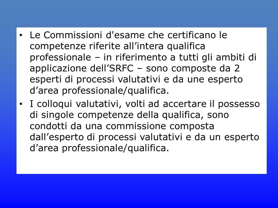 Le Commissioni d esame che certificano le competenze riferite all'intera qualifica professionale – in riferimento a tutti gli ambiti di applicazione dell'SRFC – sono composte da 2 esperti di processi valutativi e da une esperto d'area professionale/qualifica.