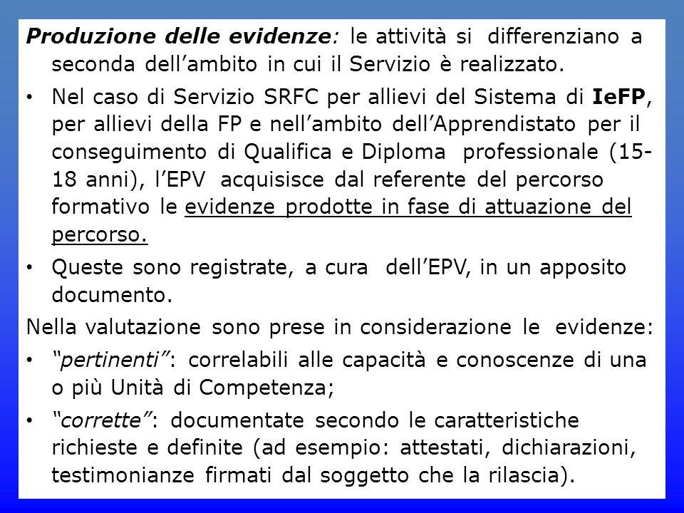 Produzione delle evidenze: le attività si differenziano a seconda dell'ambito in cui il Servizio è realizzato.