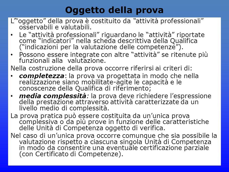 Oggetto della prova L' oggetto della prova è costituito da attività professionali osservabili e valutabili.
