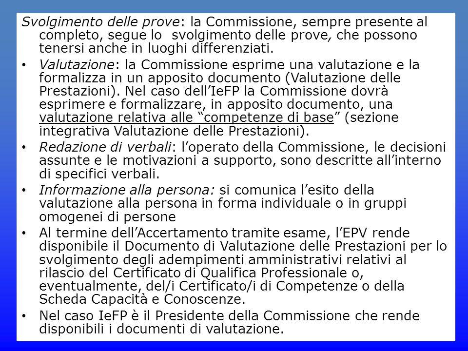 Svolgimento delle prove: la Commissione, sempre presente al completo, segue lo svolgimento delle prove, che possono tenersi anche in luoghi differenziati.