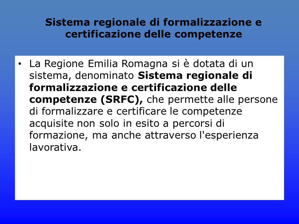 Sistema regionale di formalizzazione e certificazione delle competenze