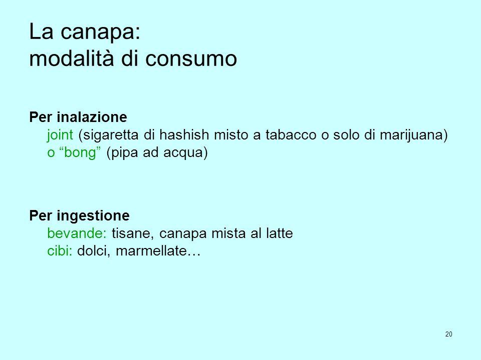 La canapa: modalità di consumo