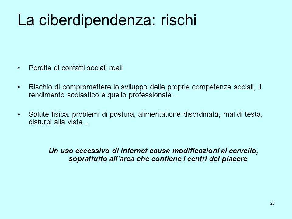La ciberdipendenza: rischi
