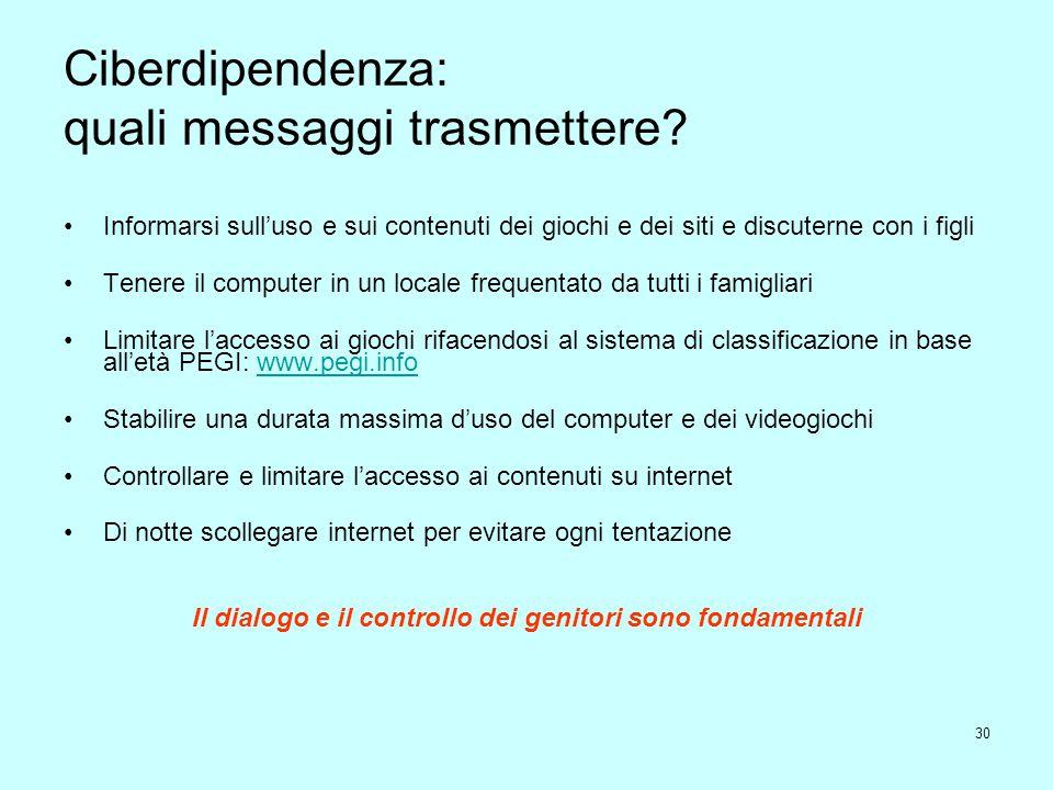Ciberdipendenza: quali messaggi trasmettere