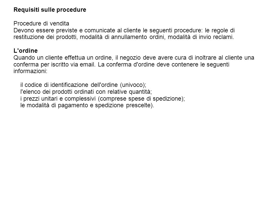 Requisiti sulle procedure