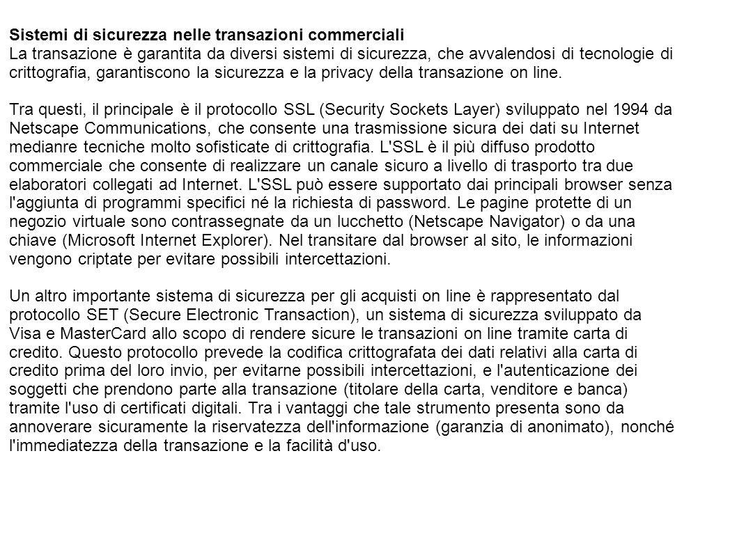 Sistemi di sicurezza nelle transazioni commerciali