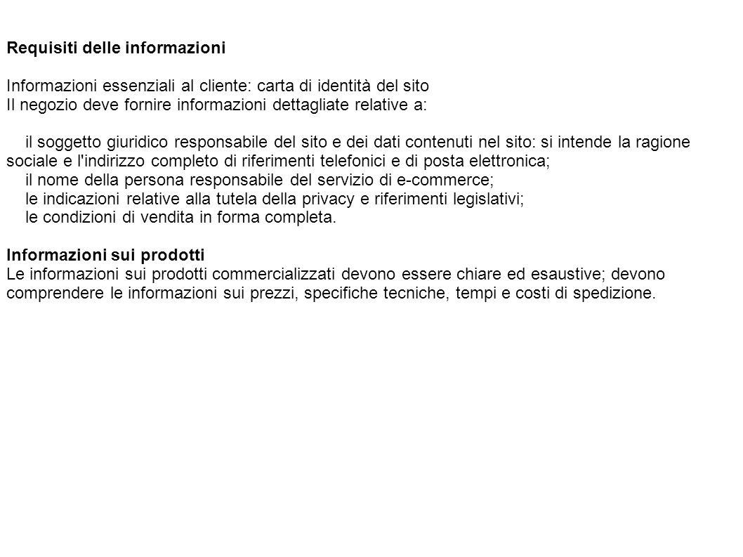 Requisiti delle informazioni