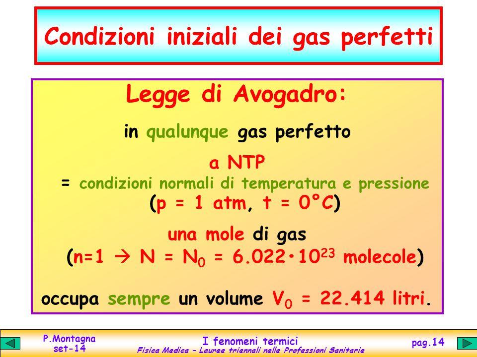 Condizioni iniziali dei gas perfetti