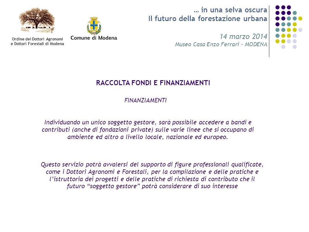 … in una selva oscura Il futuro della forestazione urbana 14 marzo 2014 Museo Casa Enzo Ferrari - MODENA