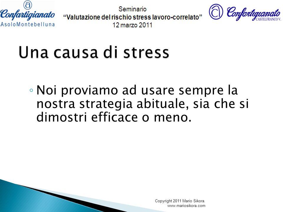 Una causa di stress Noi proviamo ad usare sempre la nostra strategia abituale, sia che si dimostri efficace o meno.