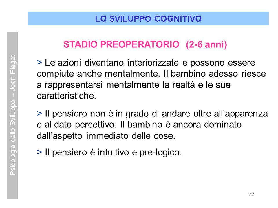 STADIO PREOPERATORIO (2-6 anni)