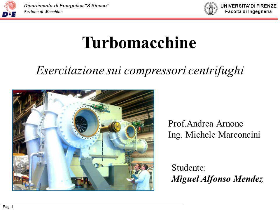 Esercitazione sui compressori centrifughi