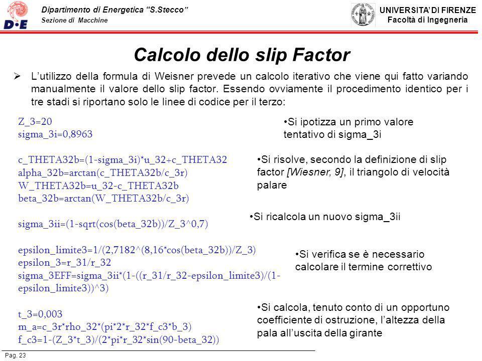 Calcolo dello slip Factor