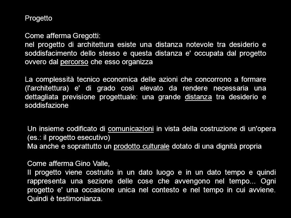 Progetto Come afferma Gregotti: