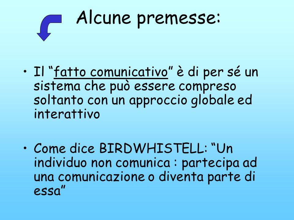 Alcune premesse: Il fatto comunicativo è di per sé un sistema che può essere compreso soltanto con un approccio globale ed interattivo.