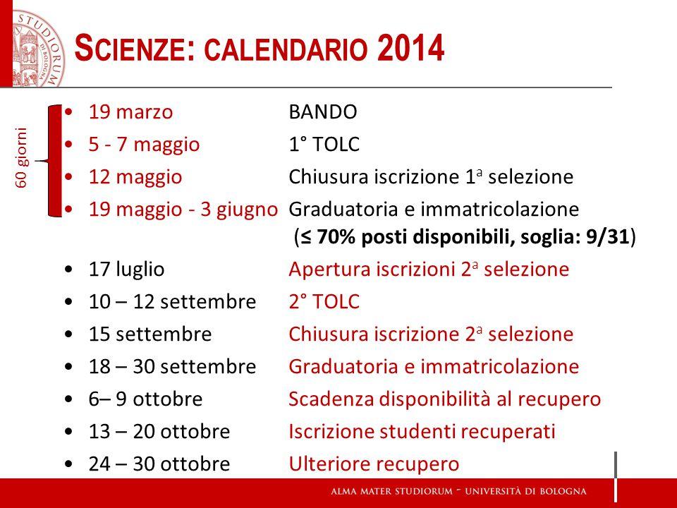 Scienze: calendario 2014 19 marzo BANDO 5 - 7 maggio 1° TOLC