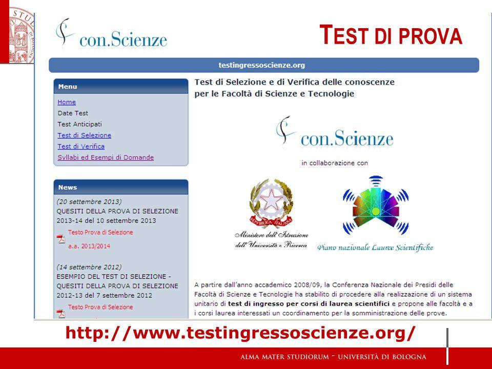 Test di prova http://www.testingressoscienze.org/