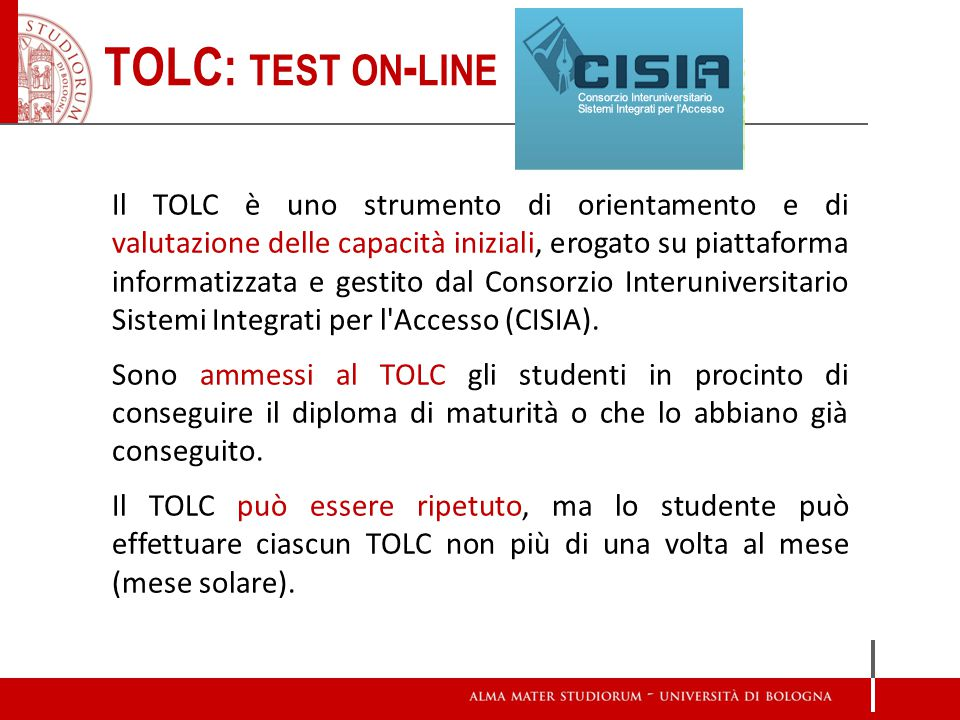 TOLC: test on-line