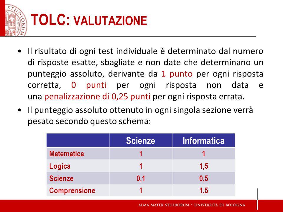 TOLC: valutazione