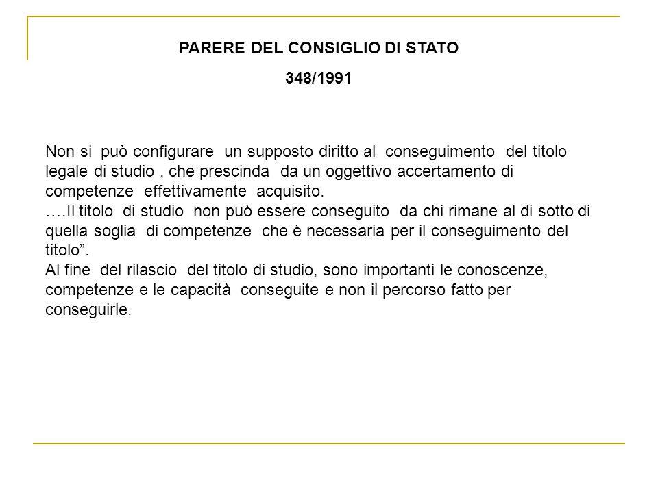 PARERE DEL CONSIGLIO DI STATO