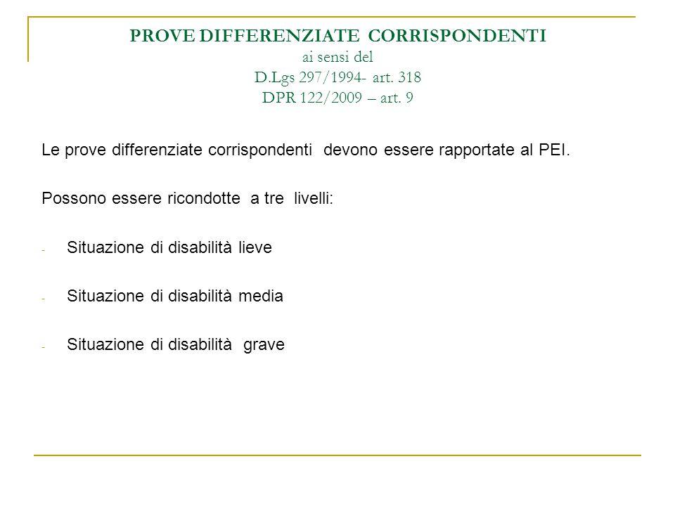 PROVE DIFFERENZIATE CORRISPONDENTI ai sensi del D. Lgs 297/1994- art