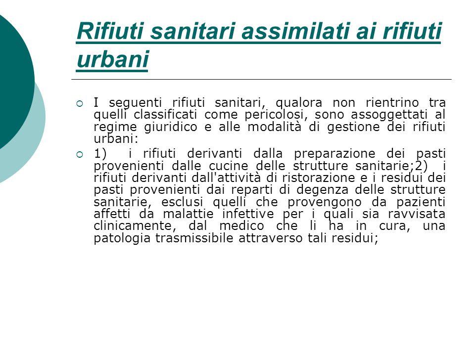 Rifiuti sanitari assimilati ai rifiuti urbani
