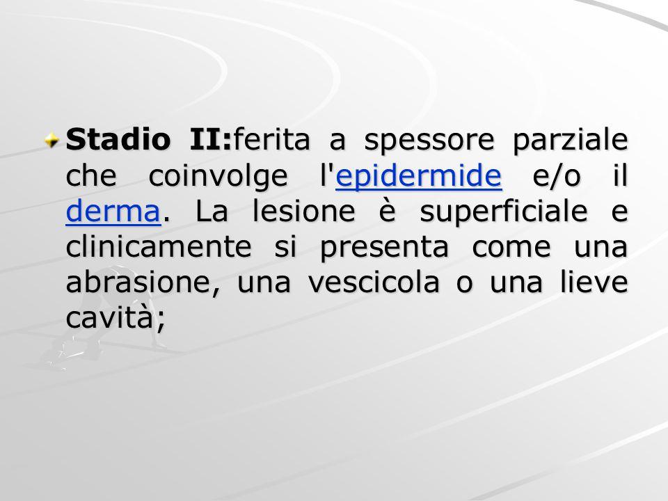 Stadio II:ferita a spessore parziale che coinvolge l epidermide e/o il derma.