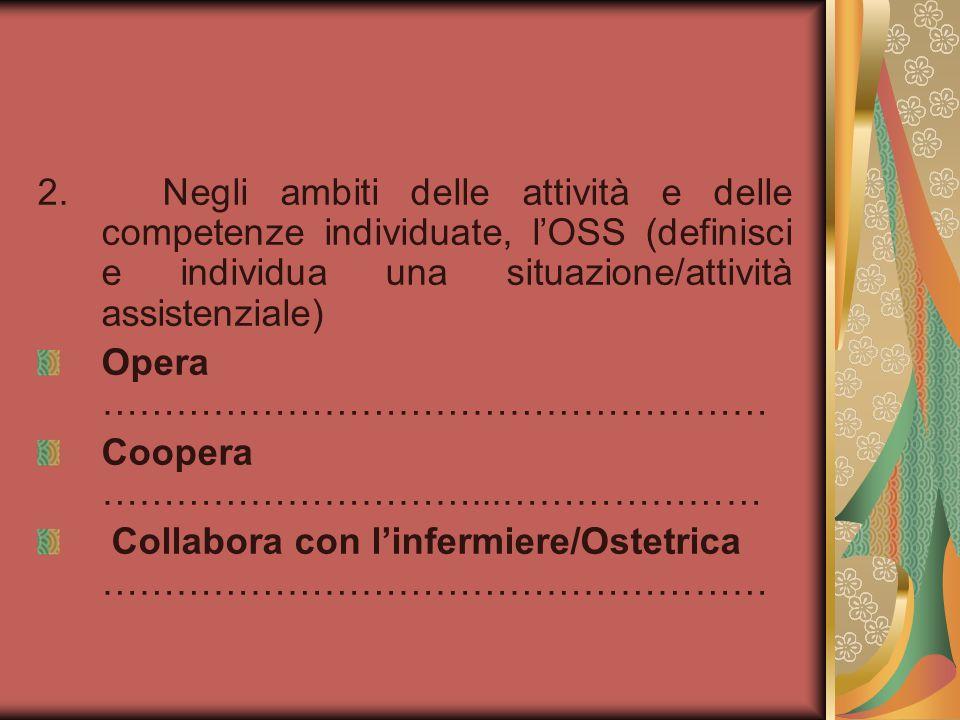2. Negli ambiti delle attività e delle competenze individuate, l'OSS (definisci e individua una situazione/attività assistenziale)