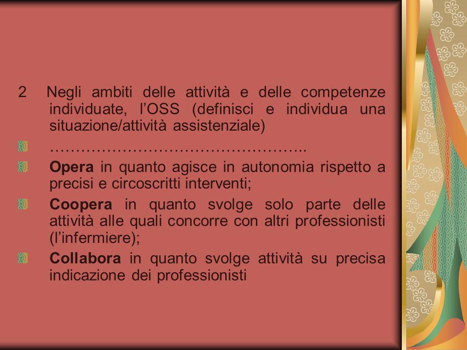 2 Negli ambiti delle attività e delle competenze individuate, l'OSS (definisci e individua una situazione/attività assistenziale)