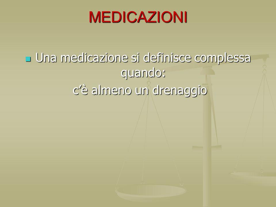 MEDICAZIONI Una medicazione si definisce complessa quando: