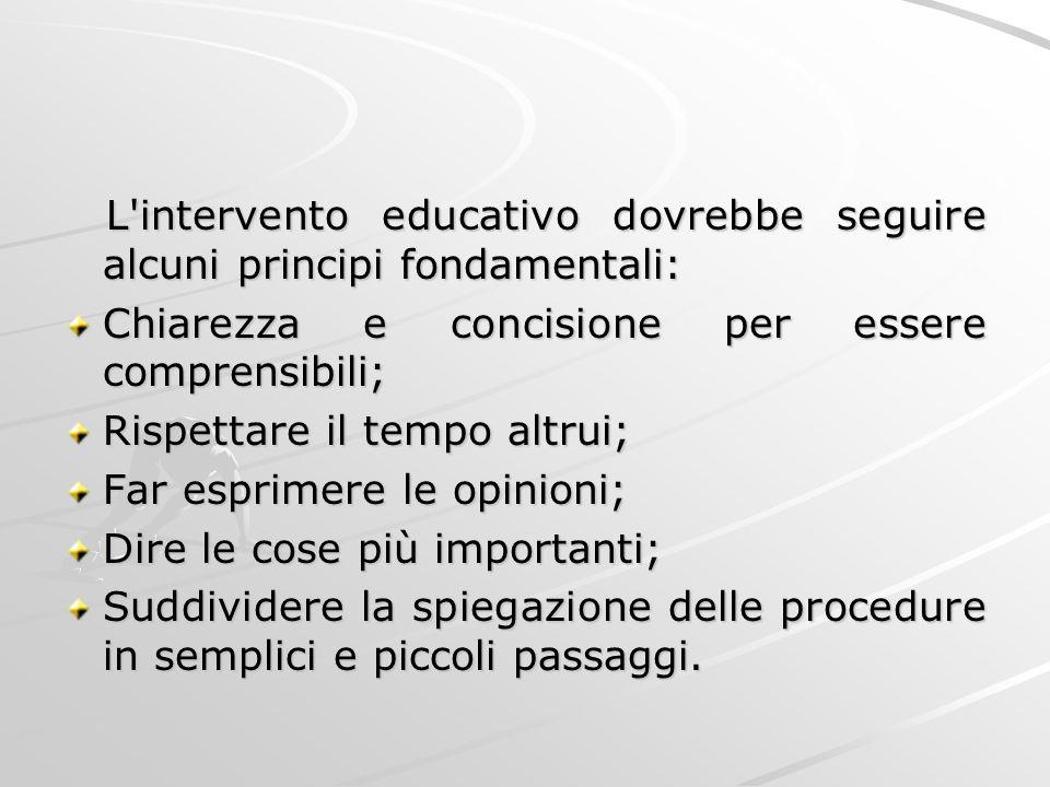 L intervento educativo dovrebbe seguire alcuni principi fondamentali: