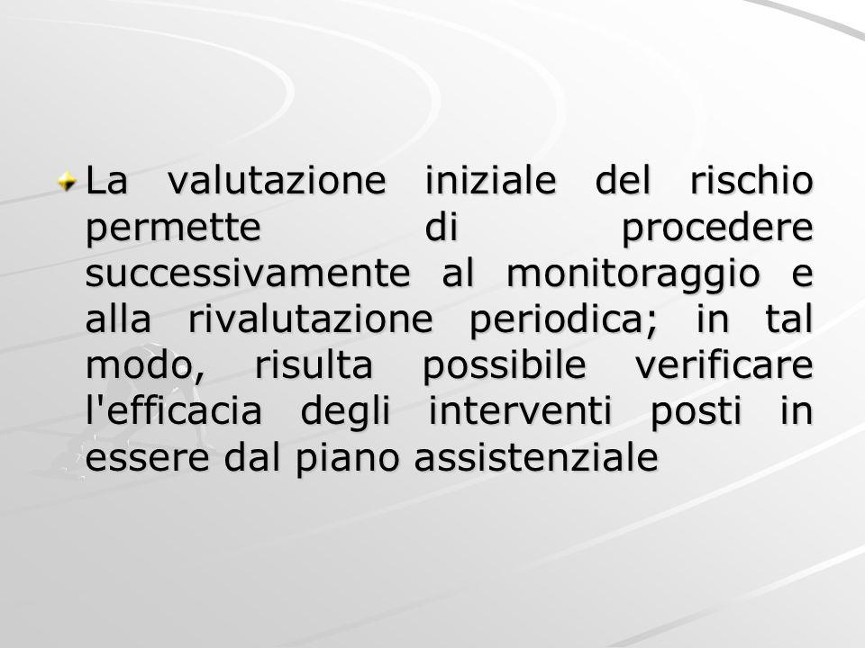 La valutazione iniziale del rischio permette di procedere successivamente al monitoraggio e alla rivalutazione periodica; in tal modo, risulta possibile verificare l efficacia degli interventi posti in essere dal piano assistenziale