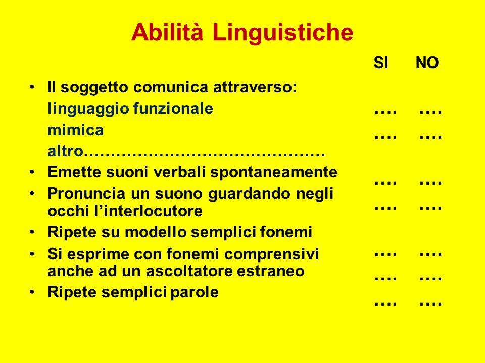 Abilità Linguistiche …. …. SI NO Il soggetto comunica attraverso: