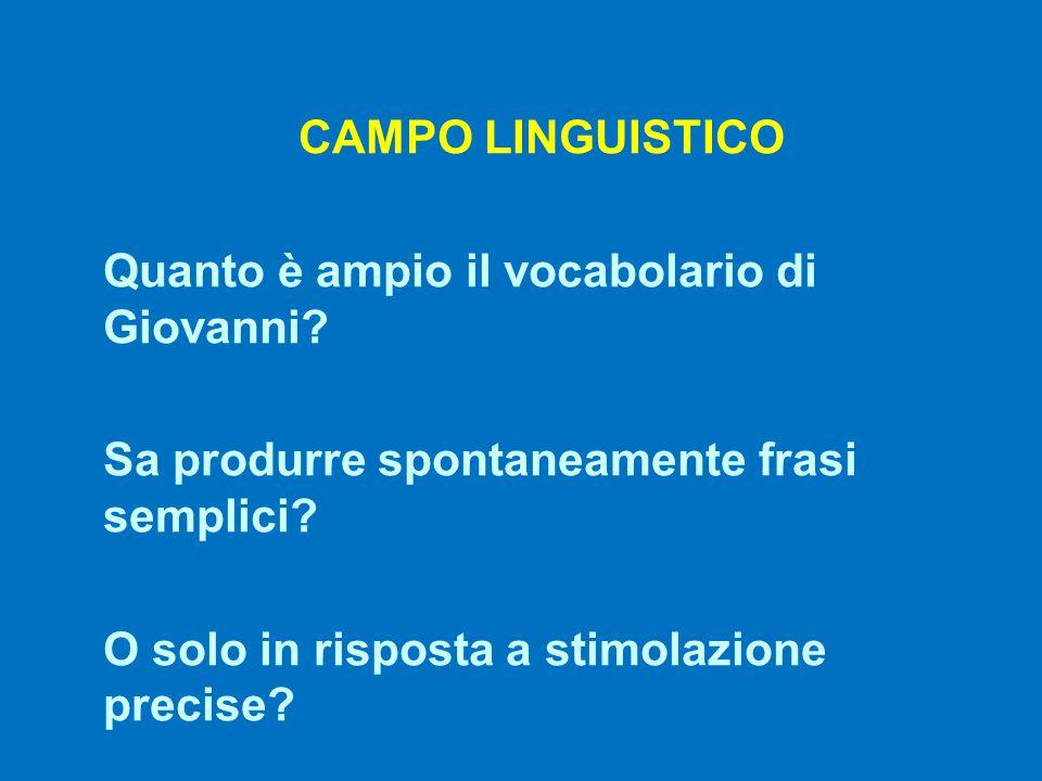 CAMPO LINGUISTICO Quanto è ampio il vocabolario di Giovanni Sa produrre spontaneamente frasi semplici