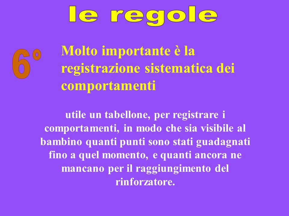 Molto importante è la registrazione sistematica dei comportamenti 6°