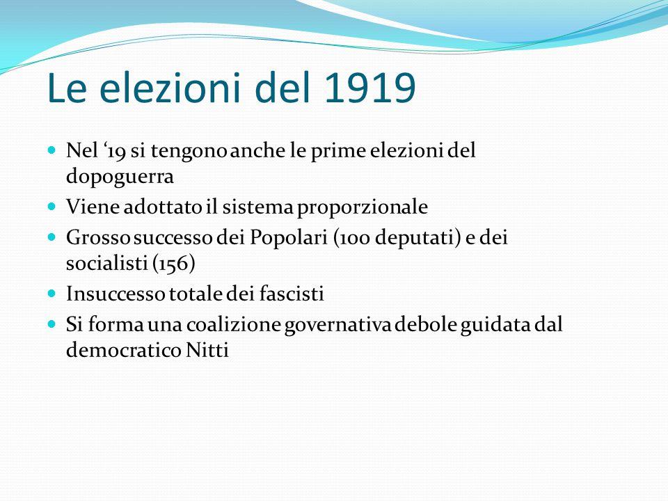 Le elezioni del 1919 Nel '19 si tengono anche le prime elezioni del dopoguerra. Viene adottato il sistema proporzionale.